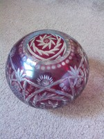Gömb alakú, csiszolt asztal közép, nehéz ólom kristályból!