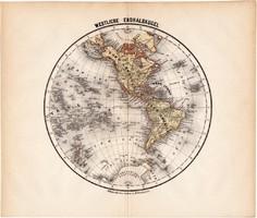 Világtérkép, Nyugati - félteke térkép 1871, lexikon melléklet, német nyelvű, eredeti