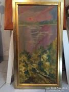Tájkép, szentendrei kortárs alkotótól eredeti Molnár Bertalan olajfestmény GYŰJTŐK figyelmébe!