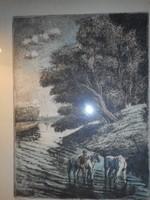 Jánossy Ferenc: Estefelé (színezett rézkarc)