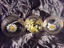 3 db Függeszthető üveg gömb kreatív dísz, led gyertya vagy potpourri tartó - florárium