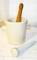 Drasche (Kőszénbánya és téglagyár jelzésű) porcelán mozsár
