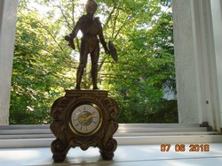 Páncélos lovag ,súlyos, tömör réz szoborral ,díszes barokkos óraház-2,8 kg-34 cm