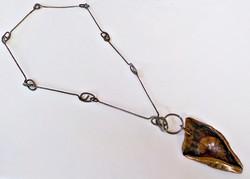 Hatalmas iparművész nyaklánc bronz medállal