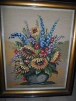 Hangulatos gobelin kép modern keretben, hibátlan, csendélet, virágcsokor