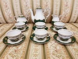 Zsolnay 6.személyes kávéskészlet ritka zöld pompadour