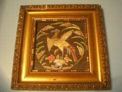 N6 Antik művészi paradicsom madaras 2 üveglapos dísz falkép