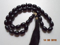 Antik Ónix fekete mala 33 szemes guru gyönggyel-47,5 cm