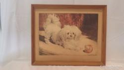Kutya labdával festmény