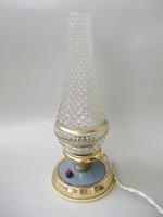 Petróleum formájú,bütykös üvegű asztali lámpa,fali lámpa,kék színű talapzattal