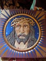 Fából faragott , Krisztust ábrázoló ,festett , fali kép