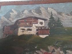 Doboz - ANTIK -  FA - KÉZZEL FESTETT - KÉZZEL KÉSZÍTETT - Osztrák  27 x 15 x 11 cm