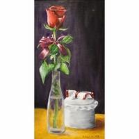 Rózsa csendélet Olaj vászon, 24x45,5 cm, keretben.