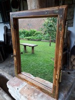 44*56-os felújított, egyedi régi tükrös ablak, tükör, pipere, antik, vintage, dekor design