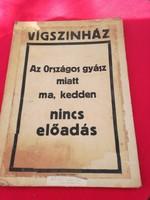 I. Ferenc József halálamiatt elmarad az előadás,Vígszinház,.1916