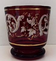 Régi rubin színű Bider pohár kézzel festett aranyozott peremmel