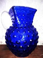Antik rücskös fújt üveg kancsó 21x16cm 2 literes