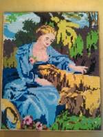 """Bájos gobelin falikép """"Állatsimogató hölgy"""""""