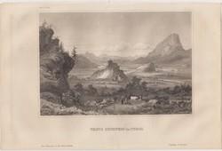 Acélmetszet: Veste Kufstein in Tyrol  (1800-as évek)