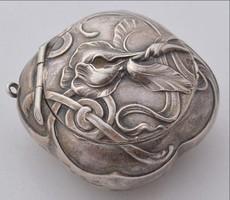 Szecessziós ezüst szelence aranyozott belül tükör