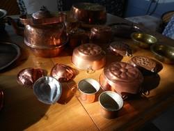 28 db. vörösréz réz edény sütőforma teáskanna fedő pohár AUKCIÓ Legmagasabb licit viszi Csak 5 napig