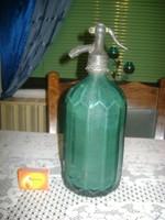 Régi, feliratos, kék szódásüveg - egy literes