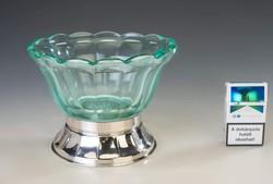 Ezüst talpú art deco üveges kínáló