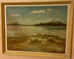 Bölcskey Ferenc: Balatonberény. Gouache, papír, jelzett, keretben, 40×50 cm + keret