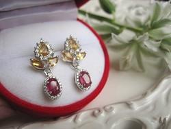 Mesés antik ezüst rubin és citrin liliom fülbevaló
