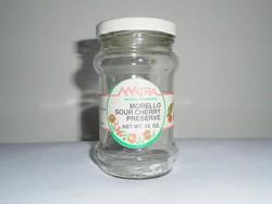 Retro papír címkés befőttes dunsztos üveg - MÁTRA meggy befőtt lekvár - külföldi exportra