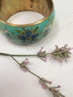 Zománcozott széles karkötő szép festett virágokkal