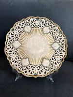 Antik Zsolnay áttört tányér, dísztányér