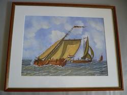 Yvette Mannee holland festő Hajók és kikötők sorozat/3.