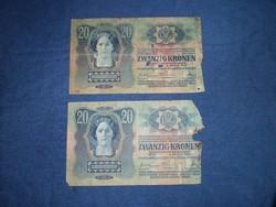 Húsz korona 1913 2 db