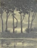 0S191 Franz Abony : Folyópari táj 1919