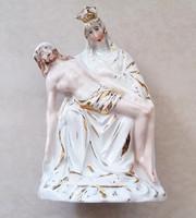 Pietá porcelán vallási szobor Mária Jézus kegytárgy 14,5 cm