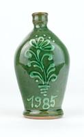 0S090 Kisméretű jelzett zöld mázas butella 12.5 cm