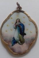Antik arany foglalatú Szűz Mária medál
