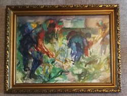 Juhász Erika festőművész (1926-2018) akvarell. Címe:Karfiol kapálás 1979es! Kiállitva: 1980