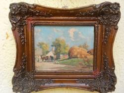 Harencz János(1928-?)Tanya nyáron.Eredeti festmény.Garanciával.