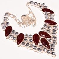 Gyönyörű, Egyedi Rubin, topáz nyakék, 925ös ezüst nyaklánc