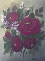 Bordó rózsacsokor című  festmény ,  csendélet