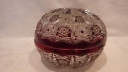 Nagyobb csiszolt kristály kerek bonbonier , doboz
