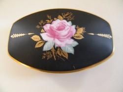 Különleges matt fekete rózsás Thomas Rosenthal porcelán bonbonier