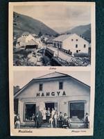 Régi Képeslap, Majdánka látkép, Hangya üzlete, bolt, Kárpátaljai Hangya szövetkezet kiadása