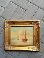 Vitorlás hajót ábrázoló falikép szép keretben