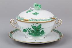 Herendi zöld Apponyi mintás krémleveses csésze fedővel és aljjal