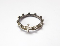 Antik ezüst vallási gyűrű.