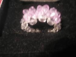 N7 gyöngy gyűrű lila szirmokkal