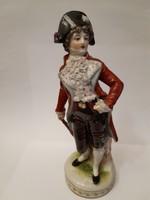 Nápolyi rokokó jelzett porcelán antik férfi figura Napóleon kalapban 18 cm 1880-1900 1.